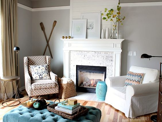 Classic design flanking a fireplace with accent chairs - How to decorate a family room ...
