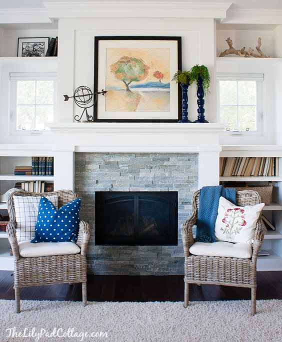 Classic Design Flanking A Fireplace With Accent Chairs