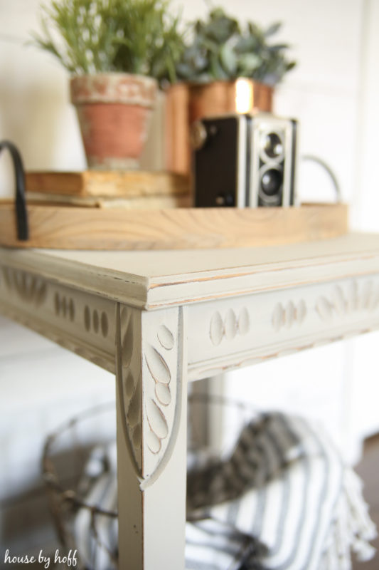 Side Table Makeover using Chalk Finish Spray Paint via House by Hoff