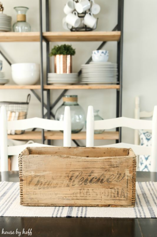 Wooden crate on dining table.