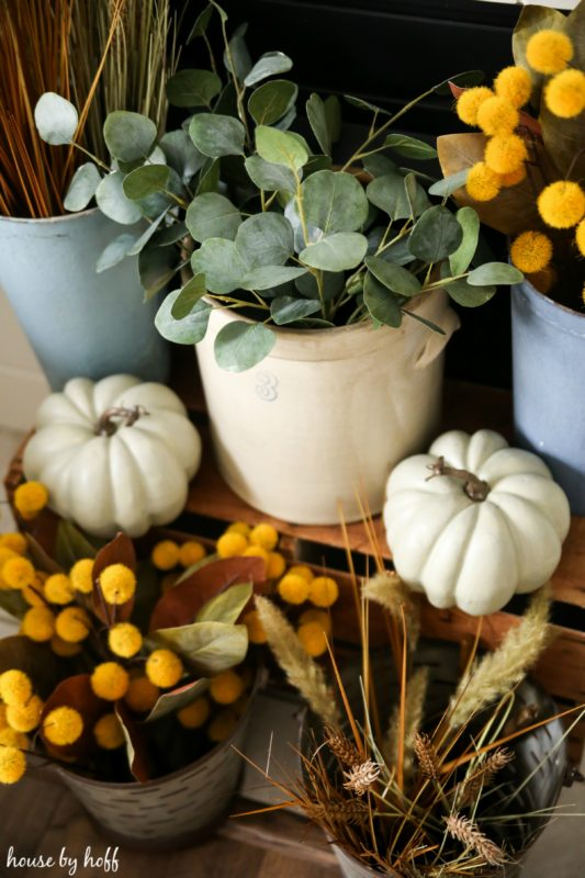 Eucalyptus leaves and pumpkins in front of fireplace.