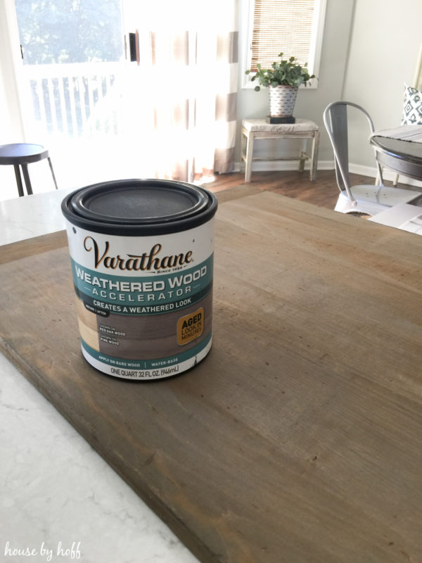 A container of varathane on the table.