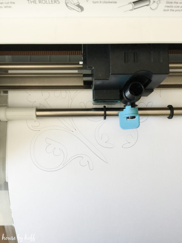 Making a pattern with the silhouette machine.