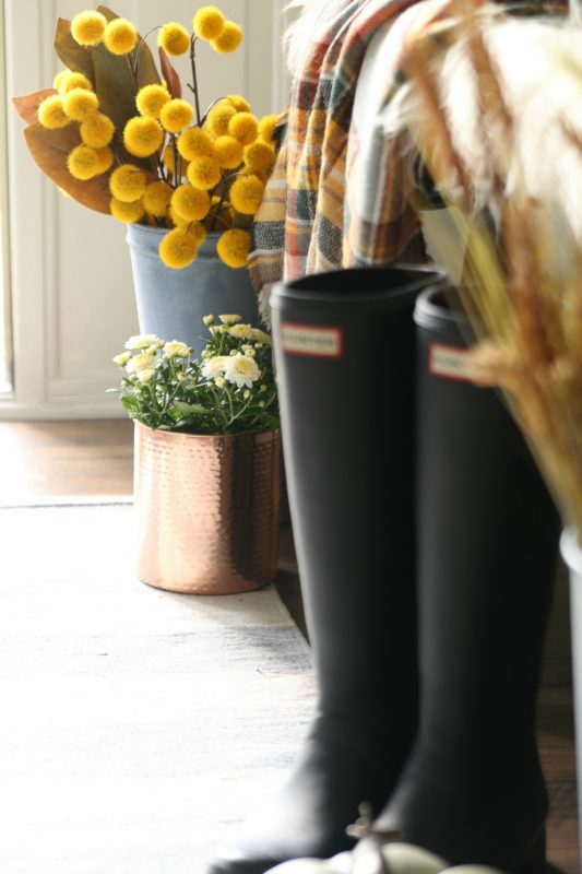 A pair of black gumboots in the entryway.