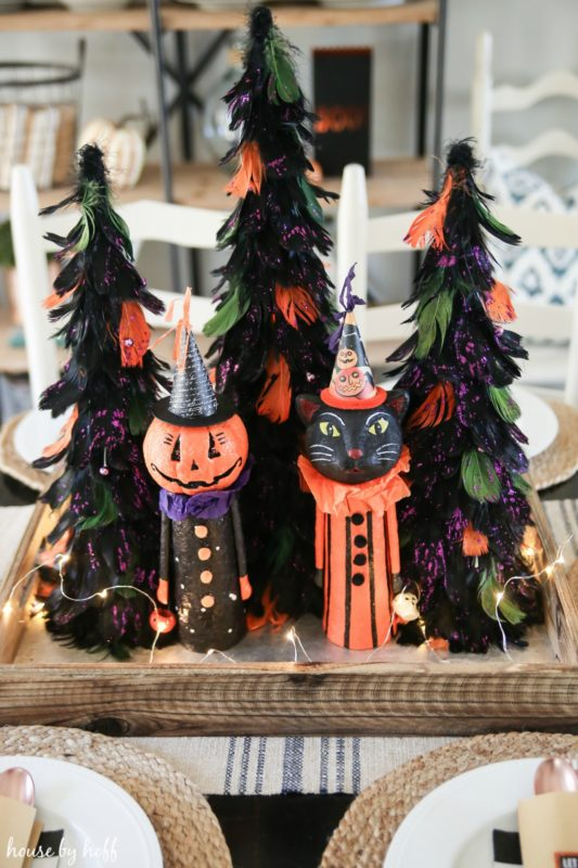 Orange, purple and green Halloween trees.