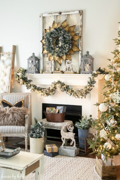 Cozy and Neutral Holiday Mantel