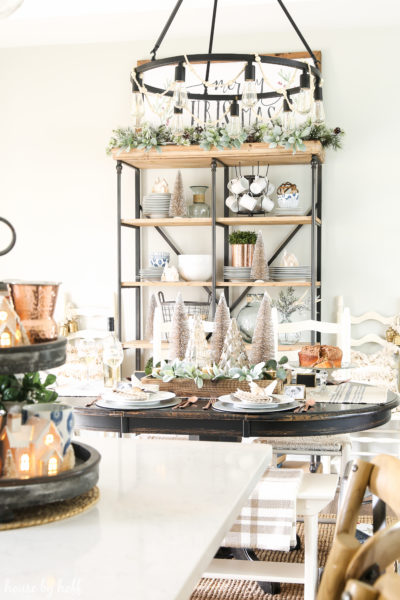 Neutral and Sparkly Holiday Dining Room