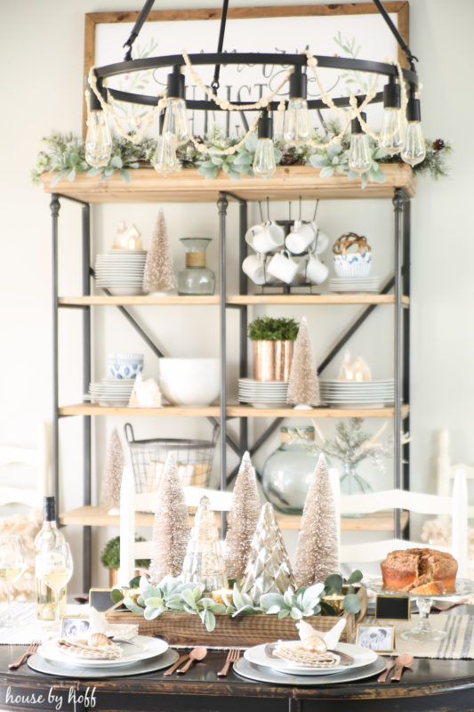 Neutral and Sparkly Holiday Dining Room via House by Hoff