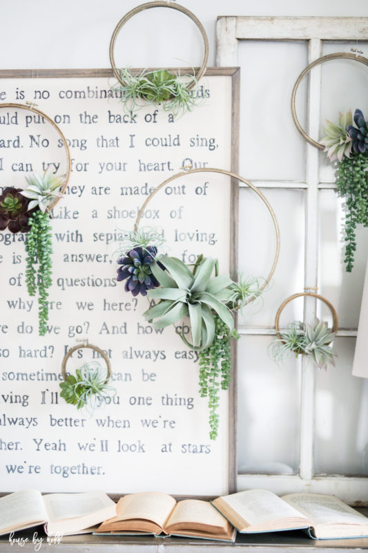 DIY Succulent Embroidery Hoop Wreaths via House by Hoff