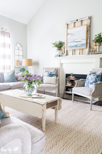 Coastal Inspired Summer Mantel and Living Room