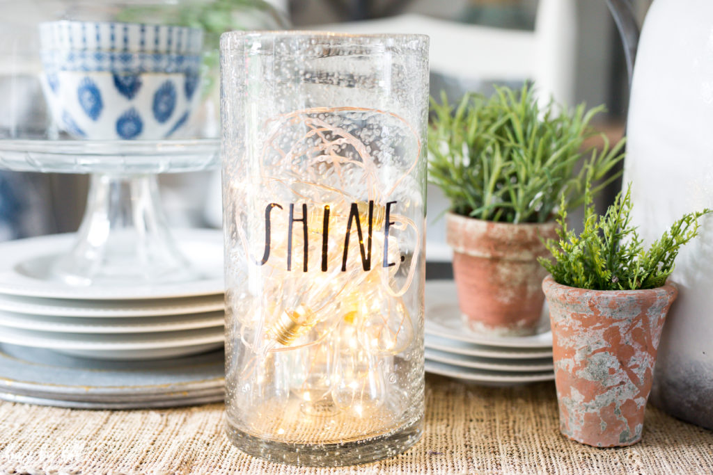 Easy Decorating String Of Lights In A Rae Dunn Vase House By Hoff