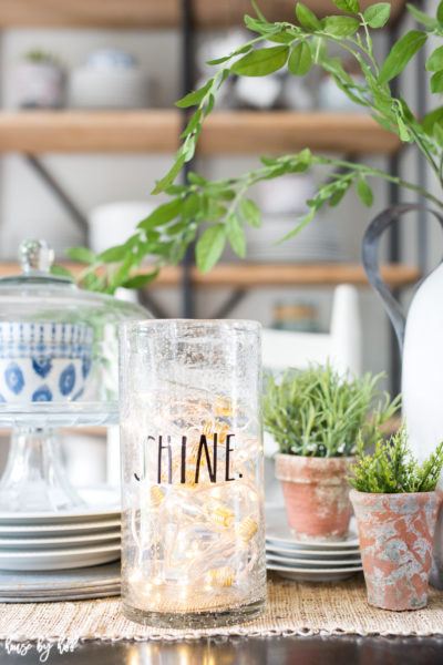 Easy Decorating: String of Lights in a Rae Dunn Vase