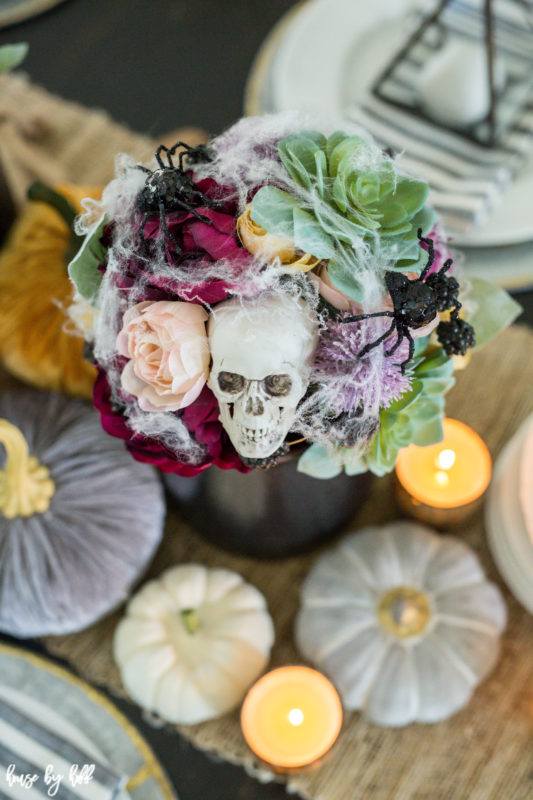 Skull in floral arrangement.