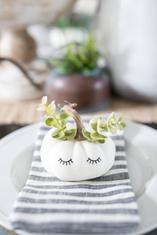 Succulent plants sticking out of the little white pumpkins with eyelashes.