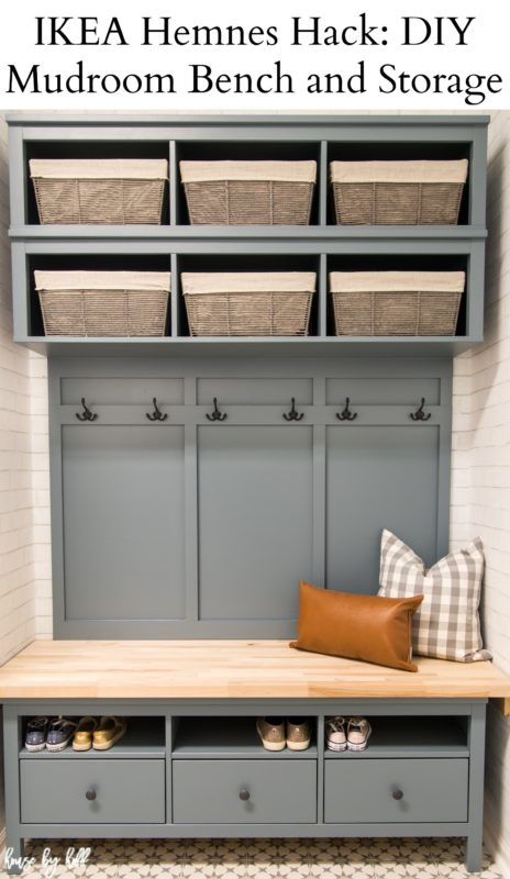 Ikea Hemnes hack: DIY mudroom bench and storage poster.