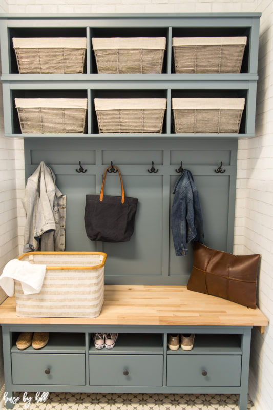 Mudroom Bench with storage in the bench.