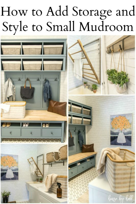 How to add storage and style to a small mudroom graphic.
