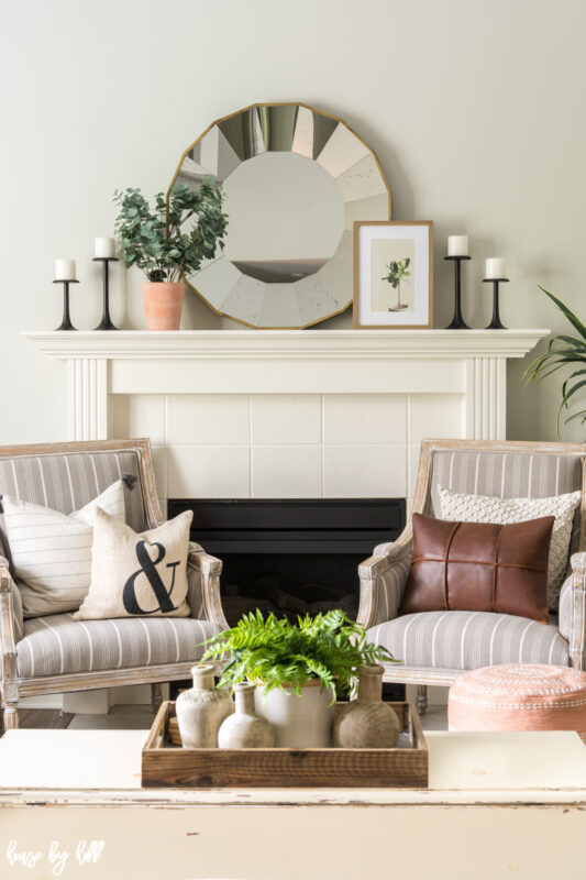Simple Mantel with Round Mirror