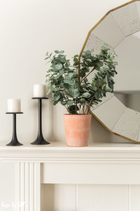 White Mantel with Simple Black Candle Holders and Eucalyptus in Terracotta Pot