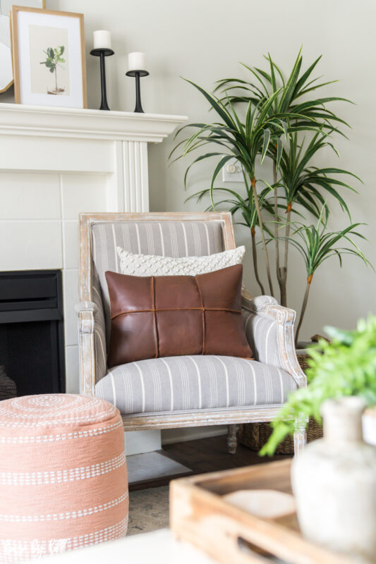 French Armchair with Leather Throw Pillow