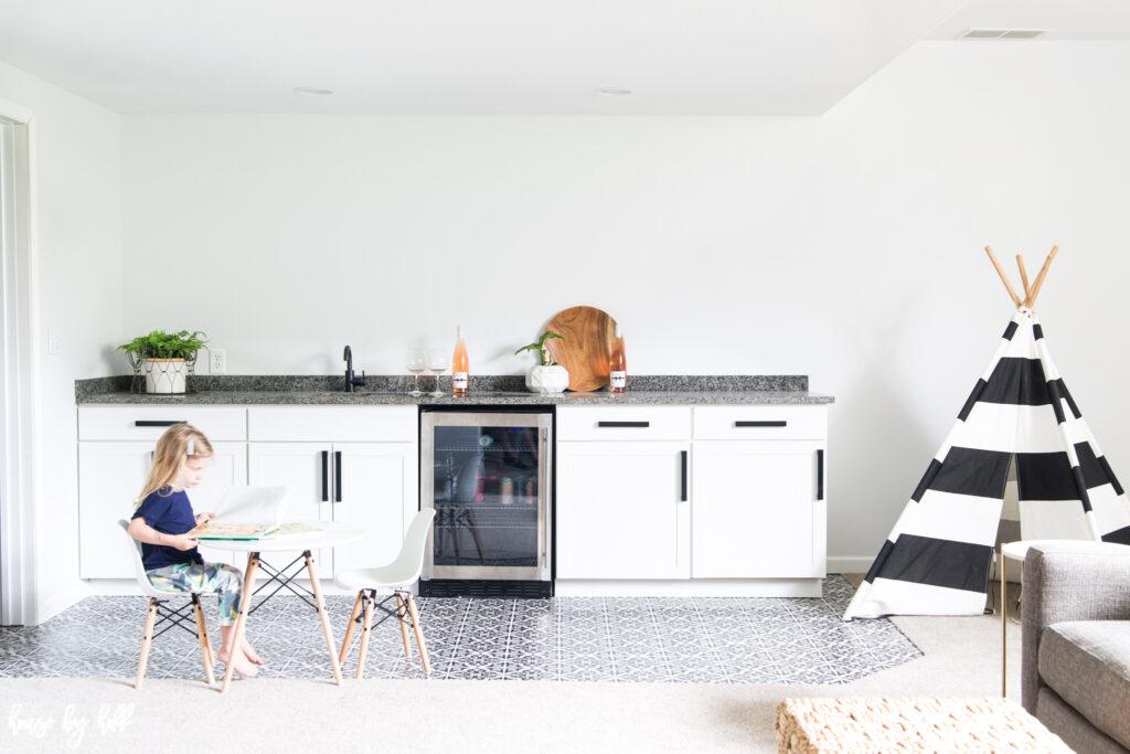 Modern Black and White Basement Kitchenette