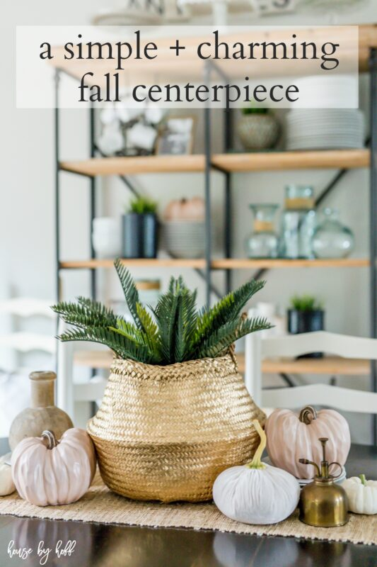 A Simple Charming Fall Centerpiece with Seagrass Basket and Neutral Pumpkins