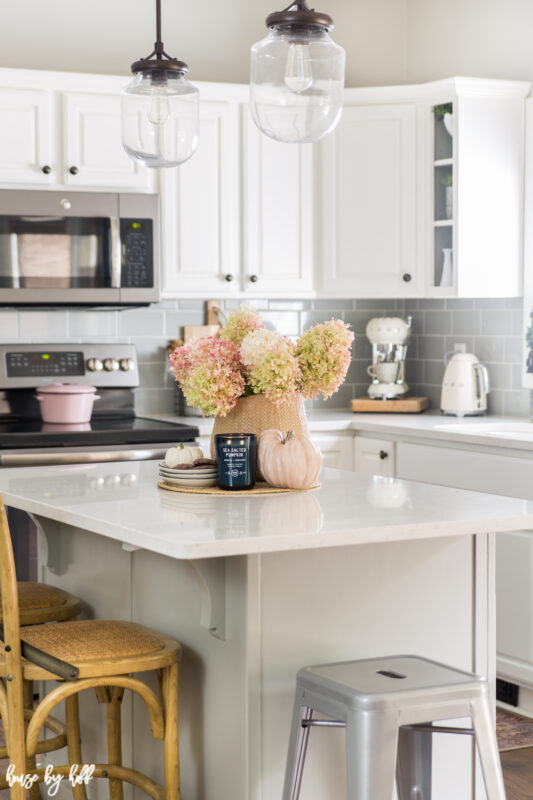 White Kitchen Decorated with Hydrangeas