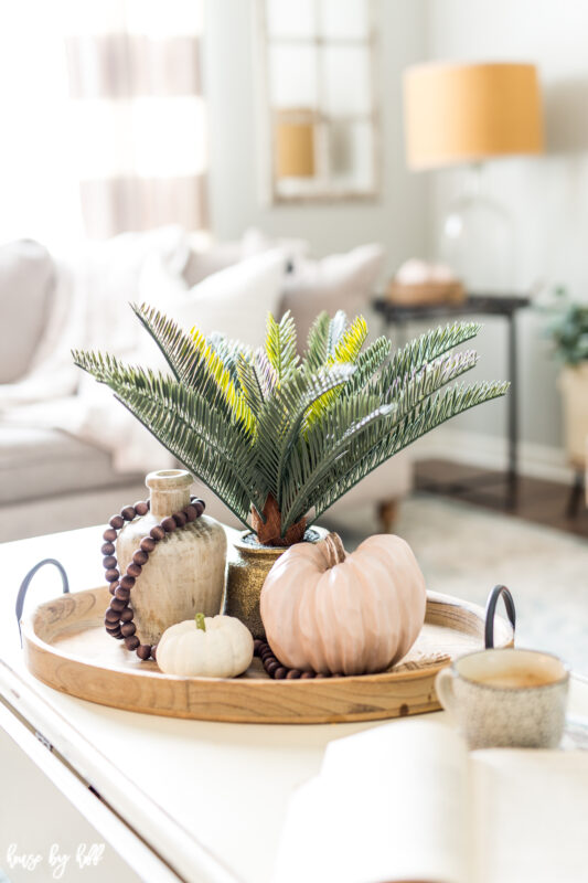 Wooden Tray with Simple Fall Decorations