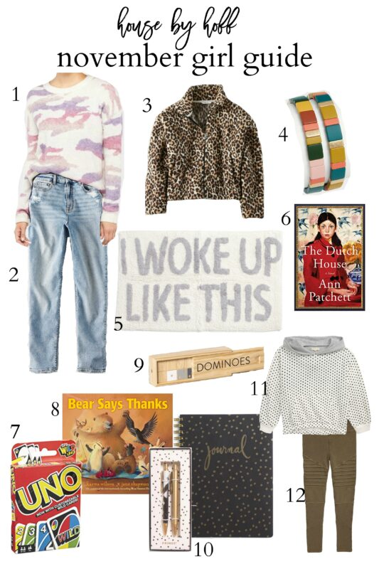 November Girl Guide with sweaters, jackets, books and games.