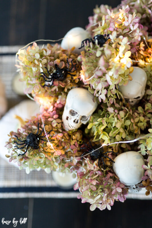 Skeletons and Spiders in DIY Halloween Centerpiece