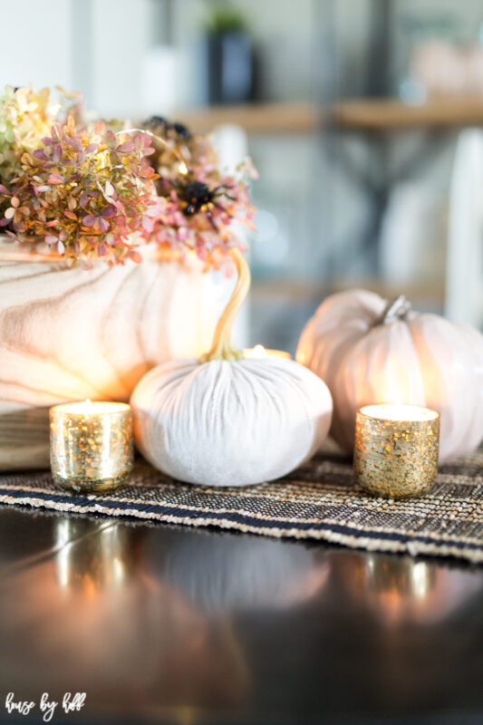 Velvet Pumpkin on Table Runner