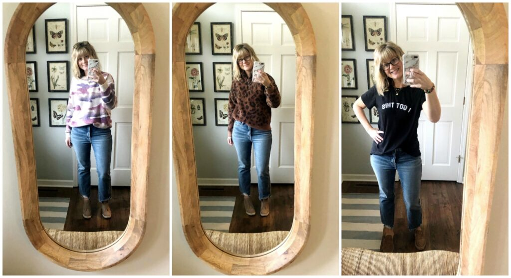 Mom Jeans Three Ways in a mirror taking a selfie.