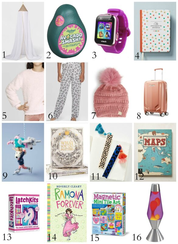 A hat, lava lamp and art kits to buy for a little girl.