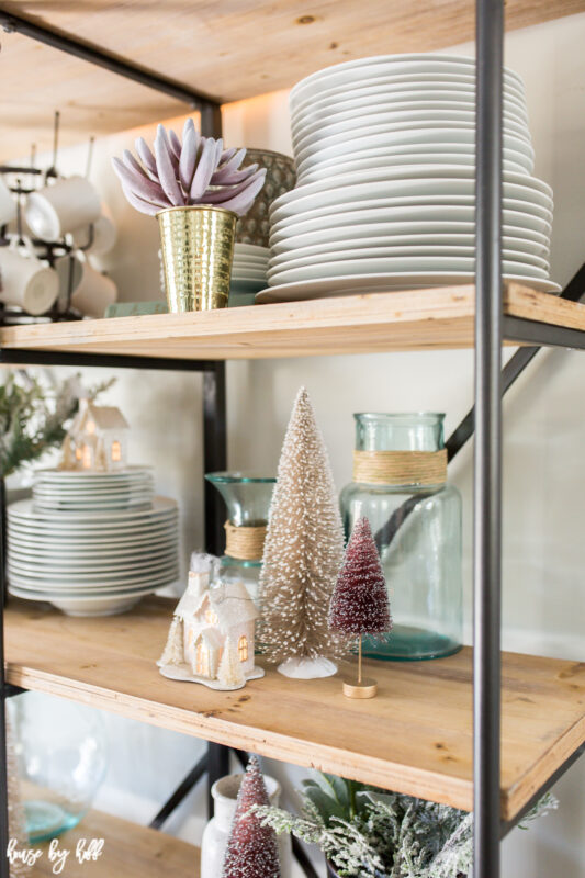 Open Shelving Decorated with Bottle Brush Trees