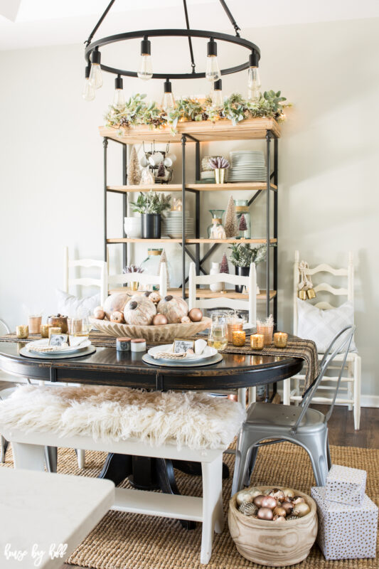 Holiday Dining Room with Rose Gold and Pink Ornament Centerpiece