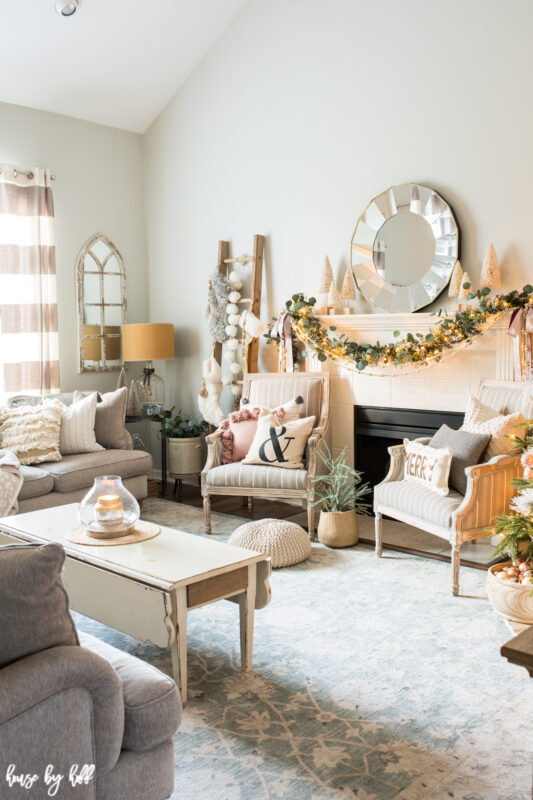 Living Room with Rose Gold and Pink Holiday Decorations.