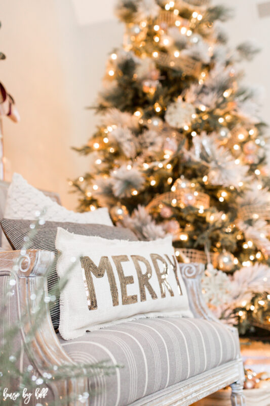 Sequined Merry Pillow in Gray Striped Chair.