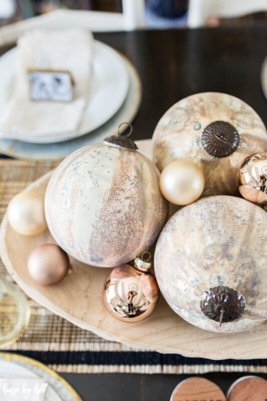 Large Copper and Cream Marbled Ornaments in Wood Bowl