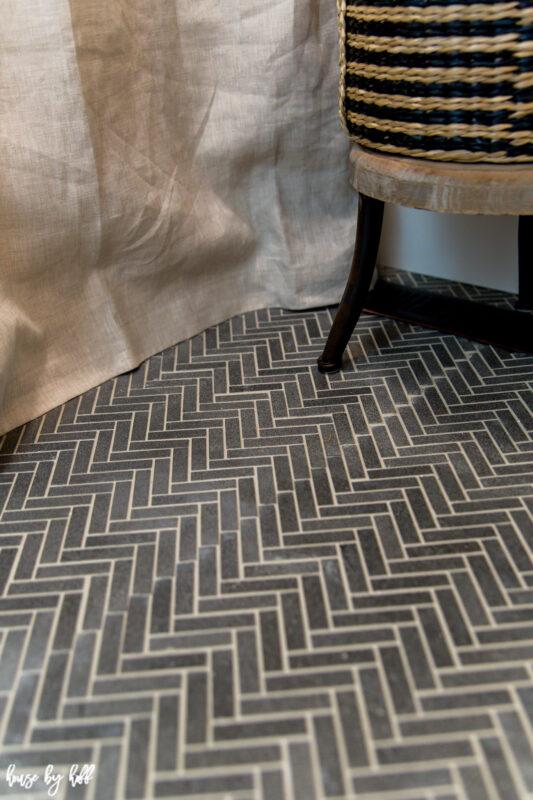 Basalt Herringbone Floor with Oyster Gray Grout