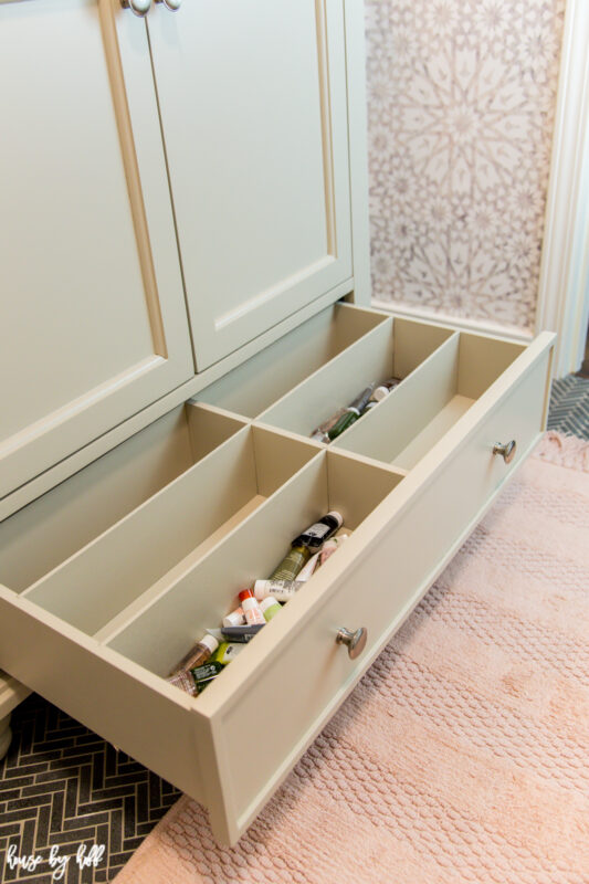 Greige Vanity with Drawer Dividers