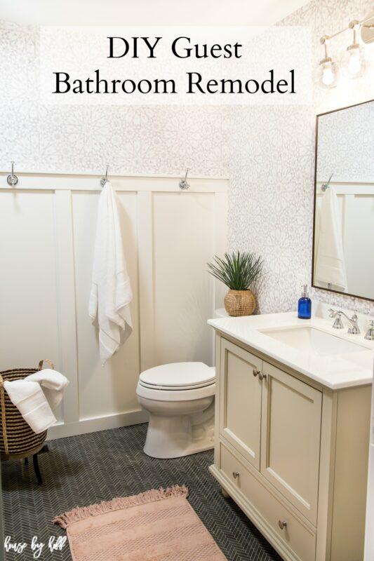 Bathroom Remodel with Wallpaper, Herringbone Floor, and Board and Batten