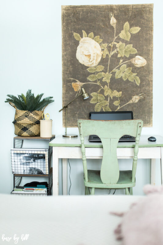 Office space with large scale floral art on decorative paper