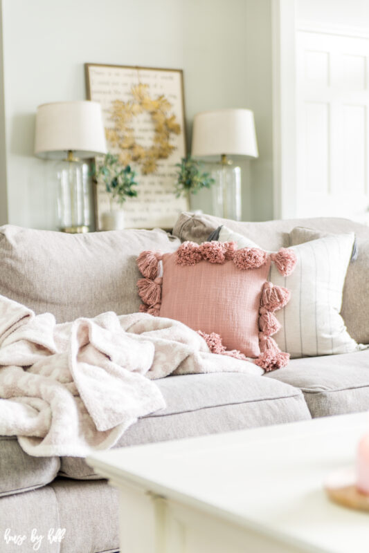 Mauve Throw Pillow with Tassels on Neutral Couch