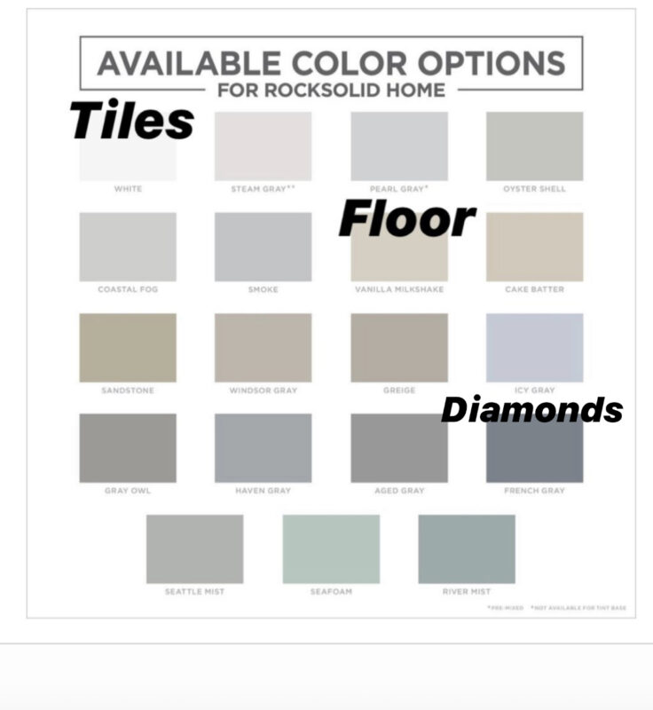 Available Color Options for Rocksolid Home