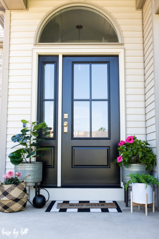 Therma Tru Four Pane Black Front Door and Sidelight