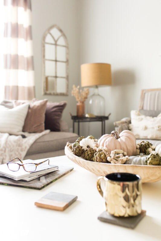 Neutral fall decor in neutral living room
