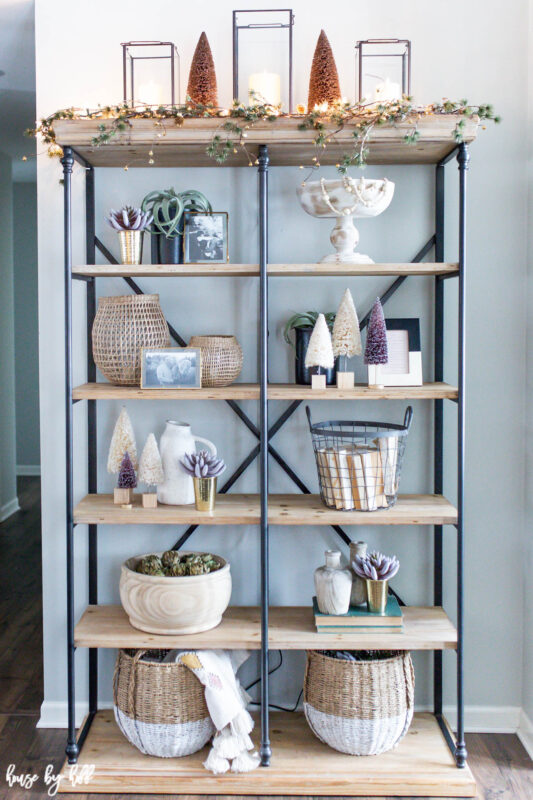 Open Shelves Decorated for Holidays
