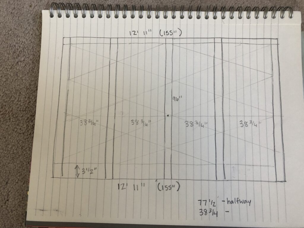 Hand Drawn Plans for DIY Board and Batten Triangle Wall