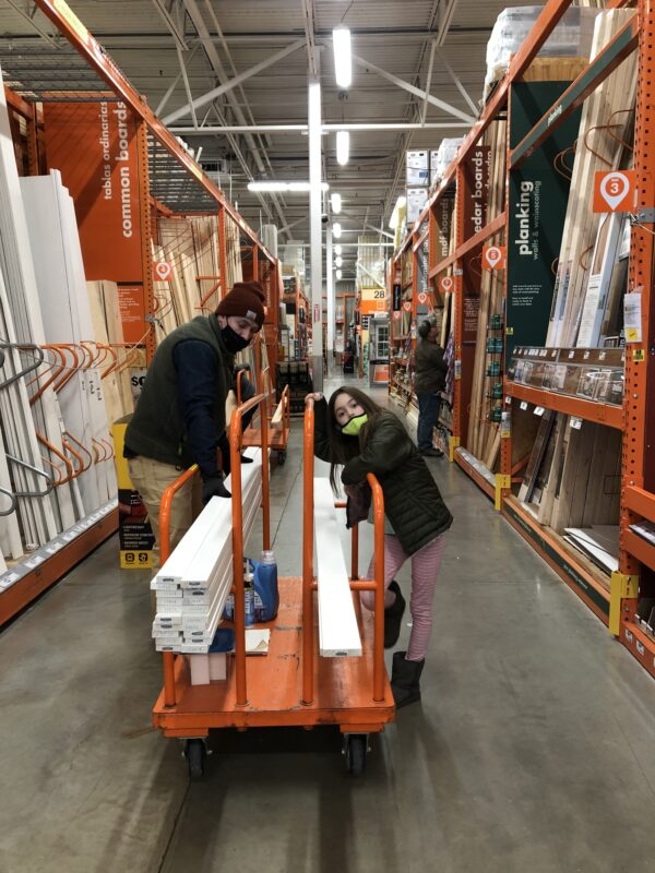 Shopping at Home Depot for DIY Board and Batten Triangle Wall