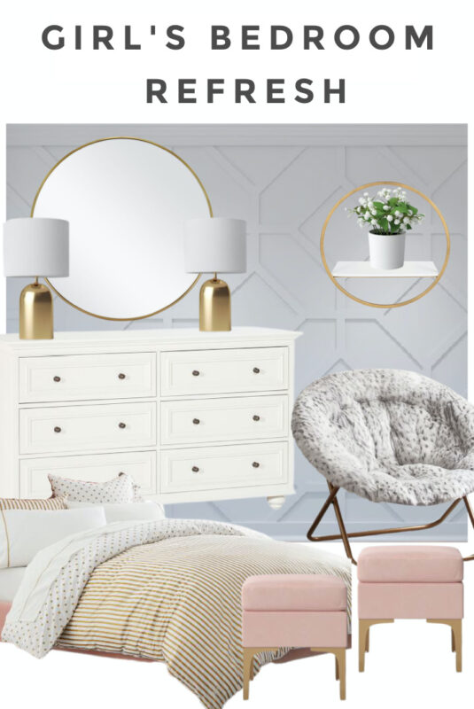 Girl's Bedroom Refresh with gray paneled wall, and pink and gold accents
